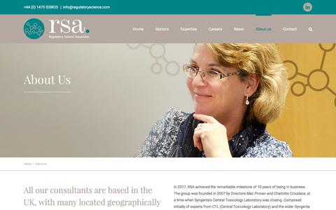 Screenshot of About Page regulatoryscience.com - About Regulatory Science Associates - RSA - Toxicologists, Regulatory Affairs Specialists and PMs - captured Nov. 7, 2017