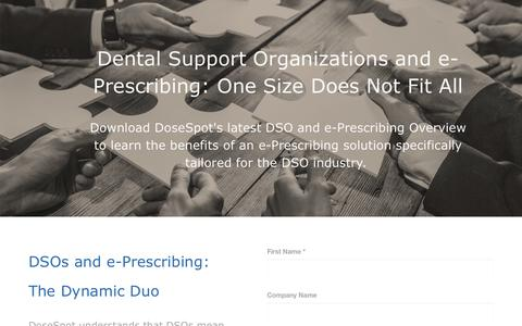 Screenshot of Landing Page dosespot.com - DSO e-Prescribing Overview - captured Feb. 10, 2017