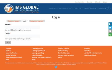 Screenshot of Login Page imsglobal.org - Log in | IMS Global Learning Consortium - captured Sept. 28, 2016
