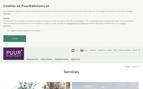 Screenshot of Services Page puurmakelaars.nl - Overview Services Puur Makelaars - captured July 24, 2018
