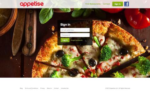 Screenshot of Login Page appetise.com - Appetise - captured June 16, 2015