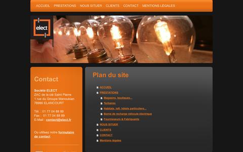 Screenshot of Site Map Page elect.fr - ELECT installateur électrique pour boutique, magasin, entreprise en Ile de France, région parisienne et Paris. Installateur de borne de recharge pour véhicule électrique. - ACCUEIL - captured Sept. 26, 2018