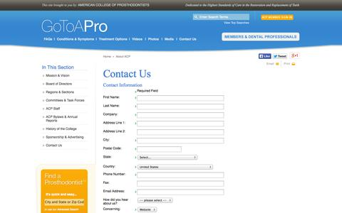 Screenshot of Contact Page gotoapro.org - Contact ACP   American College of Prosthodontists - captured Oct. 4, 2014