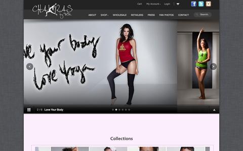 Screenshot of Home Page chakrasbydidi.com - Chakras by DidiChakras by didi: Yoga Fashion Clothing @ - captured Sept. 29, 2014