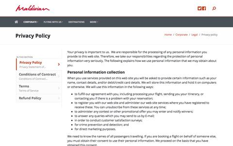 Screenshot of Privacy Page maldivian.aero - Privacy Policy - captured July 27, 2018