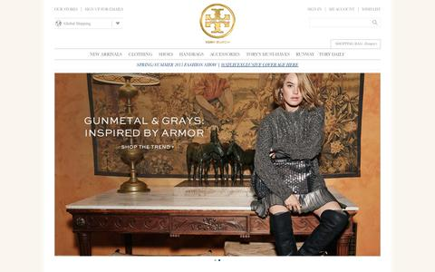 Screenshot of Home Page toryburch.eu - Tory Burch | Women's Clothing, Dresses, Shoes, Handbags & Accessories - captured Sept. 23, 2014