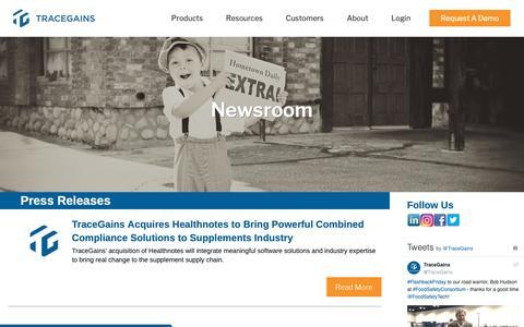 Screenshot of Press Page tracegains.com - TraceGains Newsroom and Updates   TraceGains - captured Nov. 19, 2018