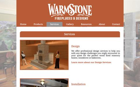 Screenshot of Services Page warmstone.com - Warmstone Fireplaces & Designs - captured Nov. 28, 2016