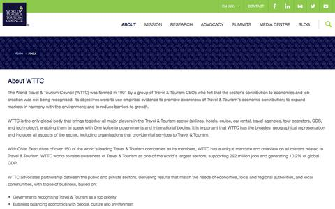Screenshot of About Page wttc.org - About | WTTC - captured Oct. 30, 2017