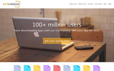 Screenshot of Home Page applingua.com - Quality App Localization from Applingua - captured June 18, 2015