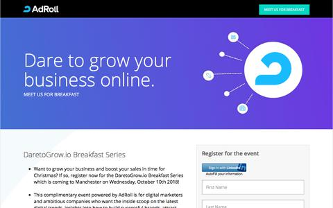 Screenshot of Landing Page adroll.com - Register now for the DaretoGrow.io Breakfast Series - captured Sept. 21, 2018
