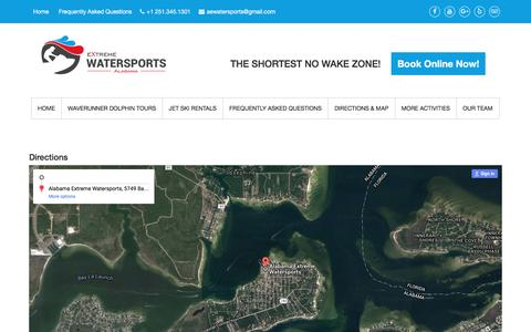 Screenshot of Maps & Directions Page aewatersports.com - Directions - Alabama Extreme Watersports - captured July 2, 2016