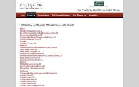 Screenshot of Locations Page proselfstorage.com - Self Storage Locations - Professional Self Storage Management, LLC - captured April 1, 2016