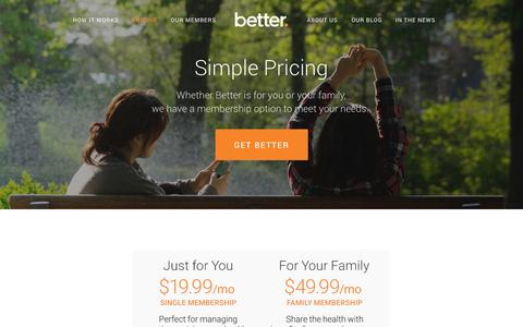 Screenshot of Pricing Page getbetter.com - Pricing — Home - captured Dec. 17, 2014