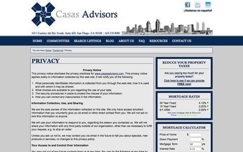 Screenshot of Privacy Page casasadvisors.com - Privacy | Casas Advisors - captured Sept. 30, 2014