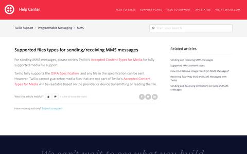 Screenshot of Support Page twilio.com - Supported files types for sending/receiving MMS messages – Twilio Support - captured June 13, 2019