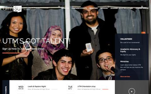 Screenshot of Home Page utmsu.ca - UTMSU » Your Students Union - captured Jan. 26, 2015