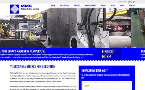 Screenshot of Home Page moldingmachineservices.com - Molding Machine Services | moldingmachineservices.com - captured Sept. 26, 2014