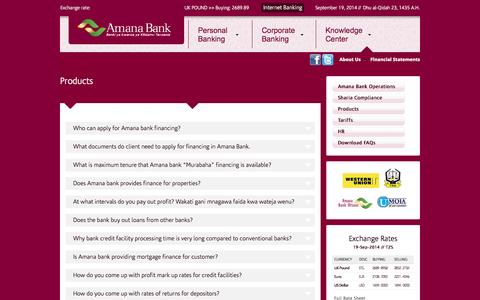 Screenshot of Products Page amanabank.co.tz - Products | Amana Bank - captured Sept. 19, 2014