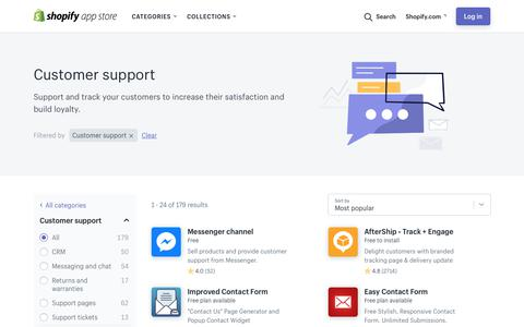 Screenshot of Support Page shopify.com - Customer support apps on Shopify Ecommerce App Store. - captured Oct. 9, 2018