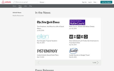 Screenshot of Press Page airbnb.com - Company News - Airbnb - captured Oct. 10, 2014