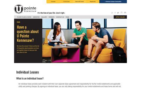Screenshot of FAQ Page americancampus.com - FAQ - U Pointe Kennesaw Student Apartments In Marietta, GA - captured Jan. 22, 2017