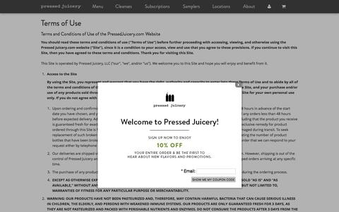 Pressed Juicery - Terms of Use