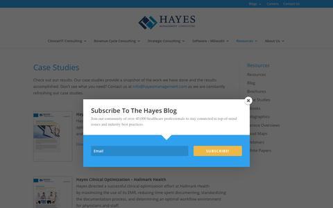 Screenshot of Case Studies Page hayesmanagement.com - Case Studies - Hayes Management Consulting - captured Sept. 27, 2018
