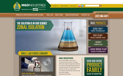 Screenshot of Home Page drilllab.com - Drilling Fluid | M&D Industries of LouisianaM&D Industries of Louisiana - captured Oct. 3, 2014