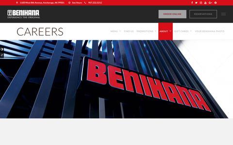 Screenshot of Jobs Page benihana.com - Benihana Careers - Work at Benihana - Apply Today   Benihana - captured Aug. 1, 2018