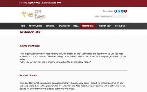 Screenshot of Testimonials Page yvonneallen.com.au - Testimonials | Yvonne Allen & Associates Matchmakers Expert - captured Nov. 13, 2017