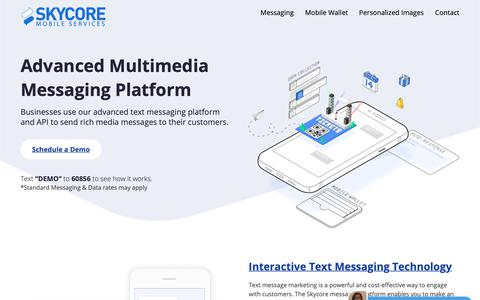 Screenshot of Home Page skycore.com - Advanced Rich Media Messaging Platform - Skycore - captured April 25, 2019