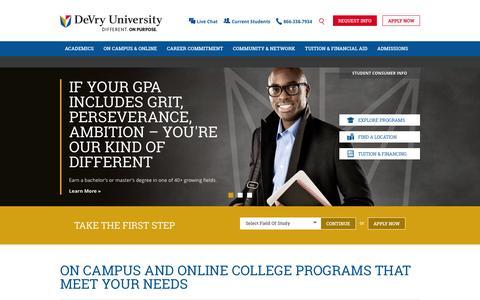 Screenshot of Home Page devry.edu - On Campus & Online College Degree Programs   DeVry University - captured Oct. 1, 2015