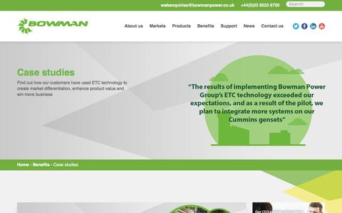Screenshot of Case Studies Page bowmanpower.com - Find Out How Our ETC Technology Is Able To Help Businesses - captured July 3, 2016