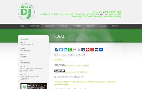 Screenshot of FAQ Page rentadj.co.za - Rent A DJ  |   F.A.Q. - captured Feb. 25, 2016