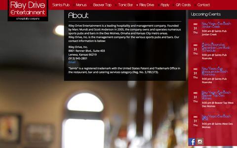 Screenshot of About Page rileydrive.com - Riley Drive | About | Saints Pub | Tonic Bar - captured Dec. 26, 2015