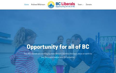 Screenshot of Home Page bcliberals.com - BC Liberals - BC Liberal Party - captured Nov. 15, 2018