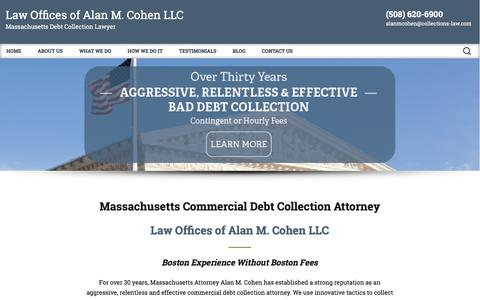 Screenshot of Home Page collections-law.com - Boston, MA Debt Collection Attorney   Commercial Debt Collection - captured June 23, 2016