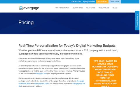 Screenshot of Pricing Page evergage.com - Evergage Pricing | Web Personalization For Today's Budget - captured Sept. 26, 2016
