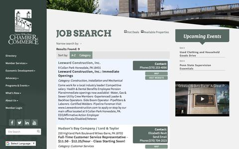 Screenshot of Jobs Page wilkes-barre.org - Job Search - Greater Wilkes-Barre Chamber of Commerce, PA - captured Oct. 14, 2017