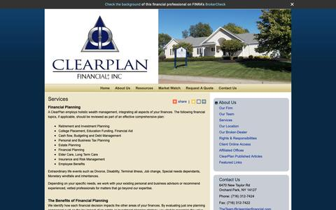 Screenshot of Services Page clearplanfinancial.com - Services : ClearPlan Financial, Inc. - captured Sept. 28, 2018