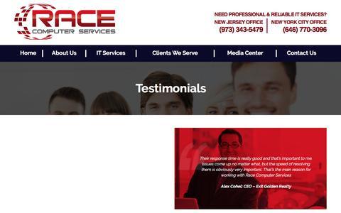 Screenshot of Testimonials Page racecs.com - Testimonials - - captured Dec. 2, 2016
