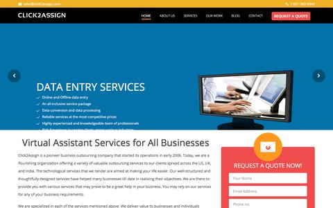 Screenshot of Home Page click2assign.com - Virtual Assistant Services | Hire a Virtual Assistant for $5.98/hr - captured July 8, 2018