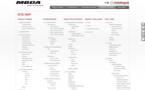 Screenshot of Site Map Page mbda-systems.com - Missile systems, defence systems - MBDA missiles - captured Sept. 23, 2014