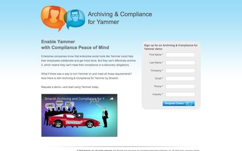 Screenshot of Landing Page smarsh.com - Archiving and Compliance for Yammer | Smarsh - captured Oct. 21, 2016