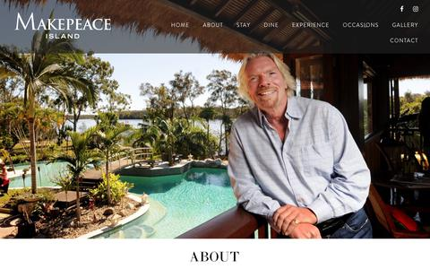 Screenshot of About Page makepeaceisland.com - About - Makepeace Private Island - Noosa Sunshine Coast - captured Dec. 8, 2018