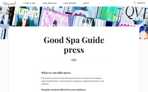 Screenshot of Press Page goodspaguide.co.uk - Good Spa Guide about | Good Spa Guide - captured July 5, 2017
