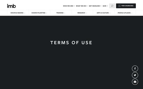 Screenshot of Terms Page imb.org - Terms of Use - International Mission Board - captured May 22, 2018