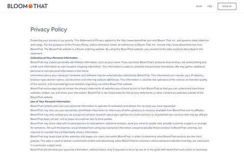 Privacy Policy & Terms and Conditions - BloomThat