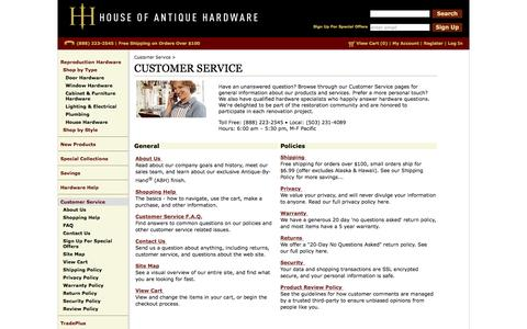 Screenshot of Support Page houseofantiquehardware.com - Customer Service - Get Answers to Your Questions and More - captured Feb. 9, 2016